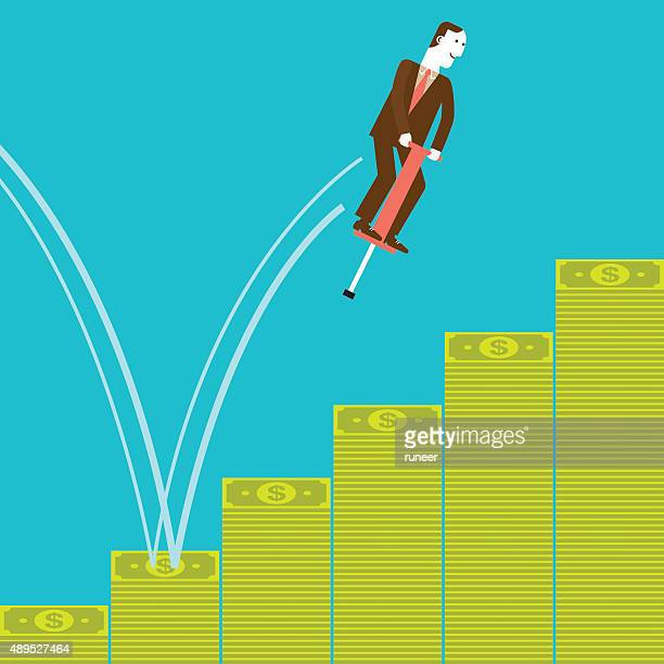 Businessman Pogostick Jumping Banknotes | New Business Concept