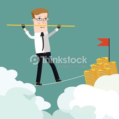 Businessman Rope Walk Dollar Sign Pole Business Concept