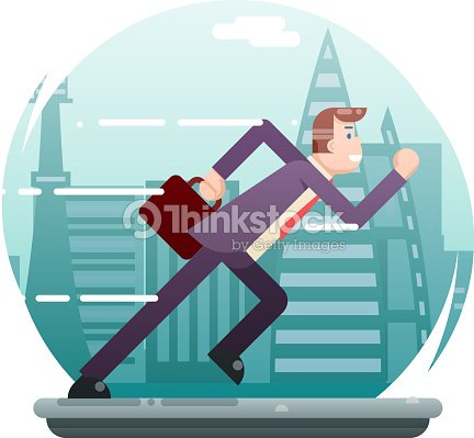 Businessman Running Character Urban Landscape City Street Background Flat Design Vector Illustration