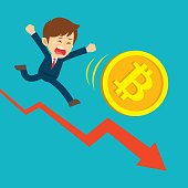 Businessman running on graphs are sad at the bitcoin price drop. Cryptocurrency market concept. Flat cartoon character design.