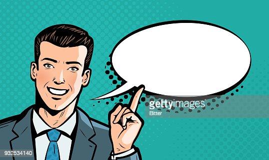 Businessman says. Business concept. Pop art retro comic style. Cartoon vector illustration : stock vector