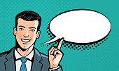 Businessman says. Business concept. Pop art retro comic style. Cartoon vector