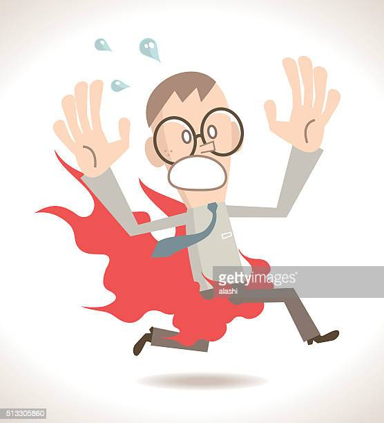 Businessman screaming and running with pants on fire