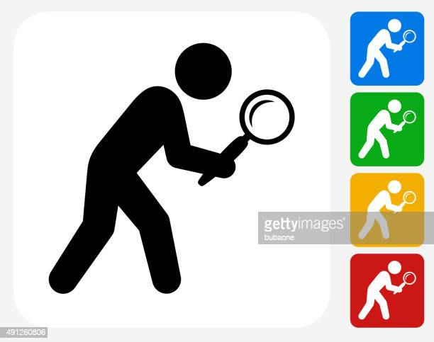 Businessman Searching Icon Flat Graphic Design