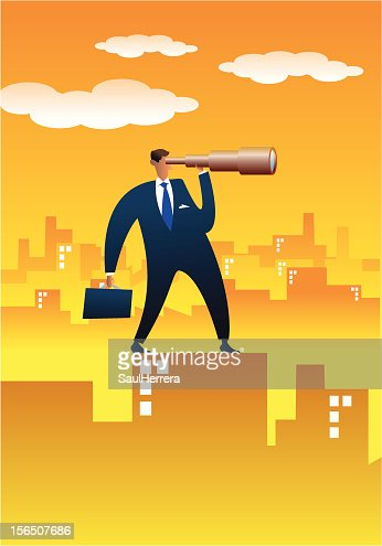 Businessman searching more opportunities from the top : Vector Art