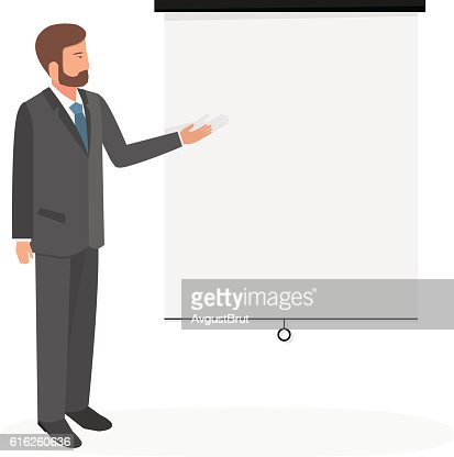 Businessman shows on the Board. : Vector Art