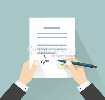 Businessman Signing Document Vector Hands Holding Contract Signed