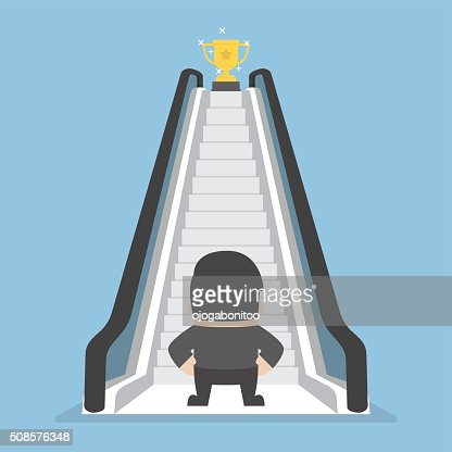 Businessman standing in front of escalator that leads the trophy : stock vector