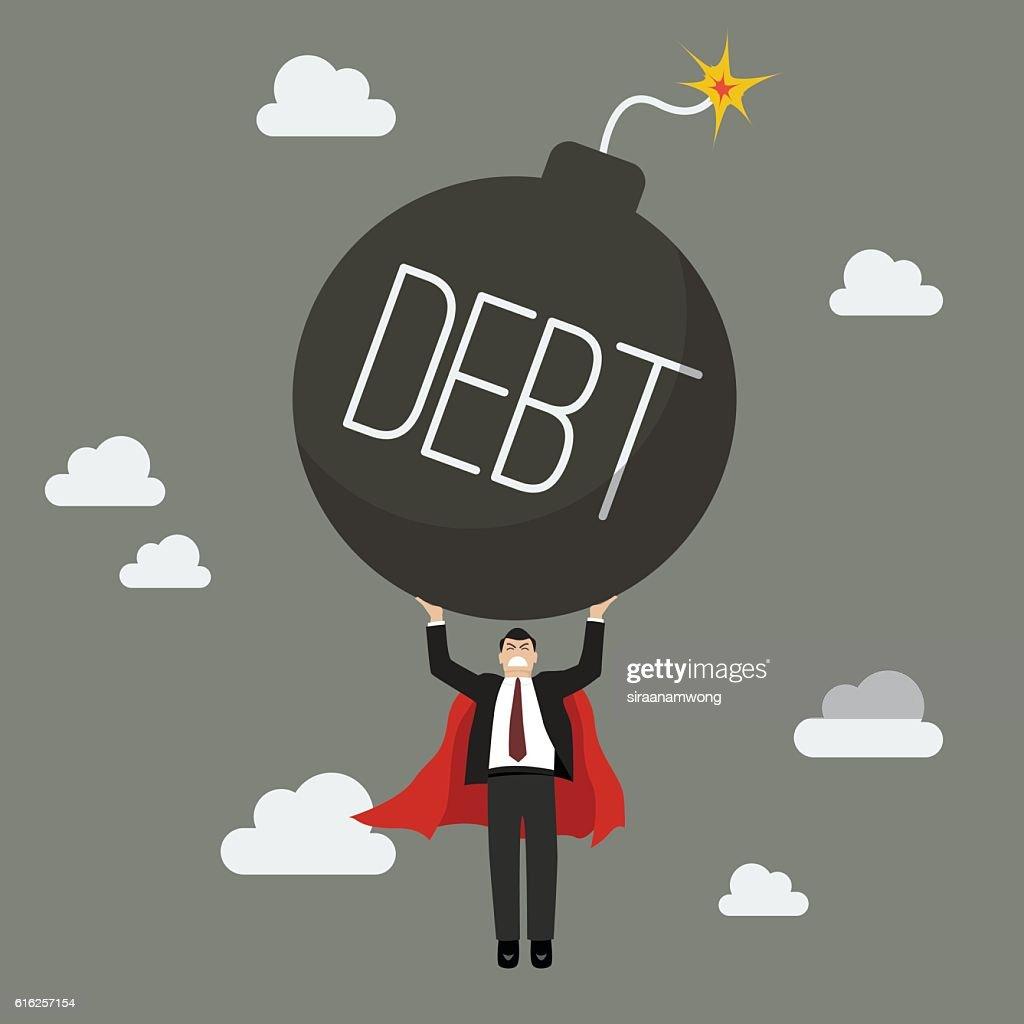 Businessman superhero carry debt bomb : Arte vectorial