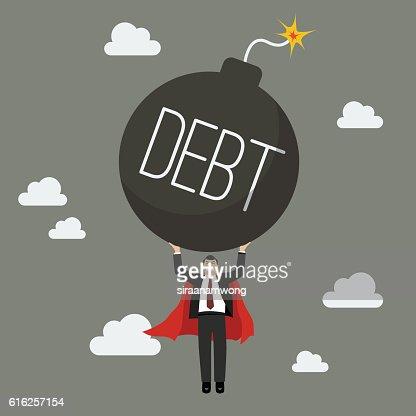 Businessman superhero carry debt bomb : Arte vetorial
