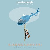 Businessman superhero on helicopter concept flat 3d web isometric infographic vector. Success and leadership, hard work and reward, security service super agent. Creative people collection.