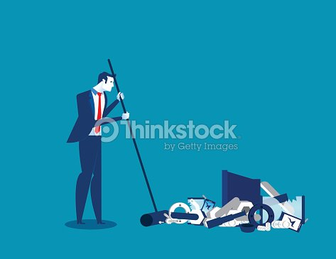 Businessman sweeping away old technology. Concept technology business illustration. Vector innovation of technology