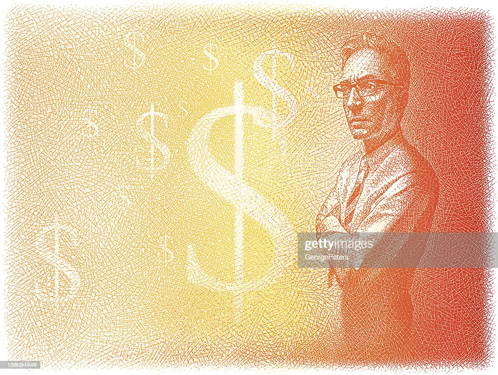Businessman Thinking About Money : Vector Art