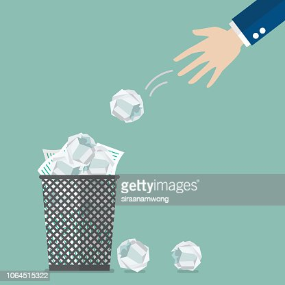 Businessman throwing crumpled paper to trash : stock vector