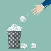 Businessman throwing crumpled paper to trash. Vector illustration