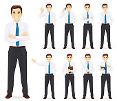 Businessman in different poses vector collection illustration