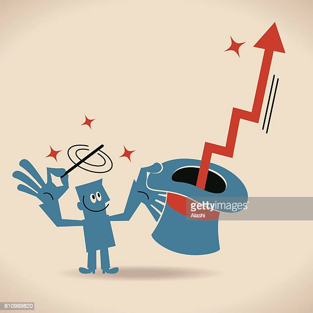 Businessman waving magic wand, arrow flying out of magic hat