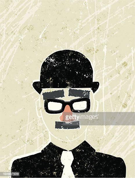 Businessman wearing a Fake nose and glasses