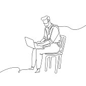 Businessman with a notebook - one continuous line design style illustration isolated on white background. A young man sitting on a chair working at the computer