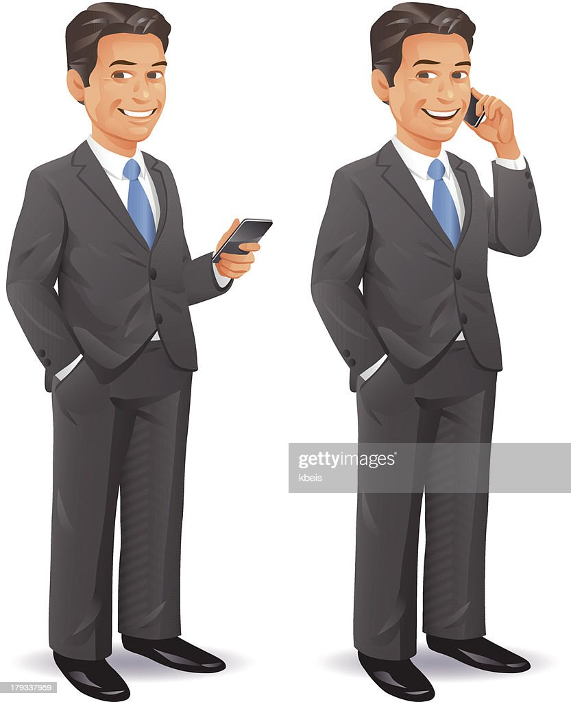 Businessman With Cell Phone : Vector Art