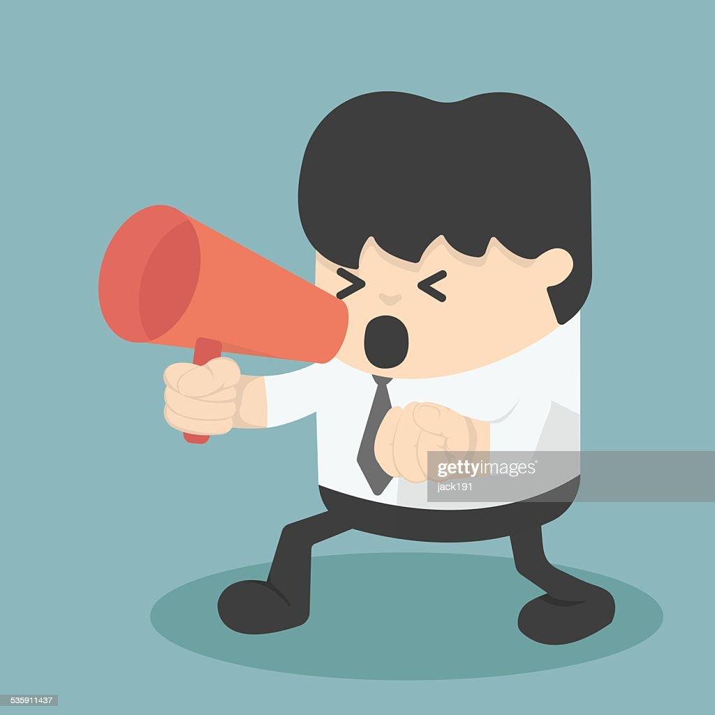 Puño clenched hombre de negocios con un megáfono pateando : Arte vectorial