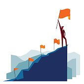 Businessman with flag on a Mountain peak: Best results