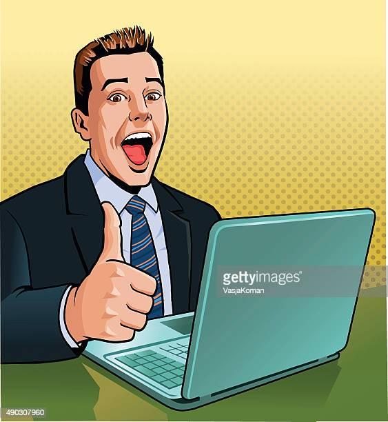 Homme d'affaires avec ordinateur portable donner les pouces en l'air