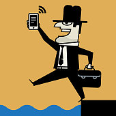 Businessman with mobile phone, vector illustration