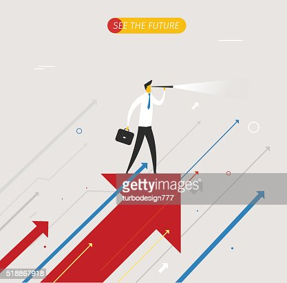 Businessman with telescope looking to the future : Vector Art