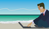 work anywhere and internet work concept illustration vector.
