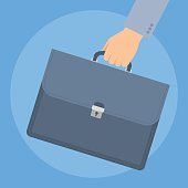 Businessman's hand carries a briefcase by the handle. Concept business illustration of human hand with luggage black suitcase with documents, contracts and agreements. Flat vector design elements.