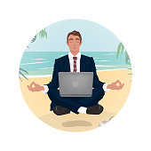 Man in business suit hovering in air, in lotus pose, on beach, by sea. Concentration on work concept. Front face view. Simplistic realistic comic art style