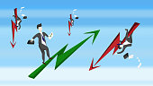 Businessmen are happy with the stock. Green arrow With the other side of the businessmen who are stressed and the stock falls, with an arrow pointing down in red. Illustrations - vector
