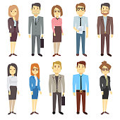 Businessmen businesswomen employee vector people characters various business outfits. Man and woman, manager leader illustration