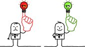 hand drawn cartoon characters - businessmen holding up red or green lightbulb on finger