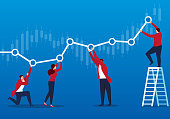 Businessmen keep the chart profitable
