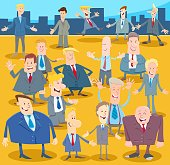 Cartoon Illustration of Happy Men or Businessmen People Comic Characters Group