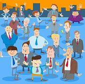 Cartoon Illustration of Happy Men or Businessmen People Comic Characters Large Group