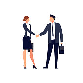 Businessmen shake hands isolated on white background. Businessmen came to an agreement and completed the deal with a handshake. Template for banner or infographics. Vector illustration.