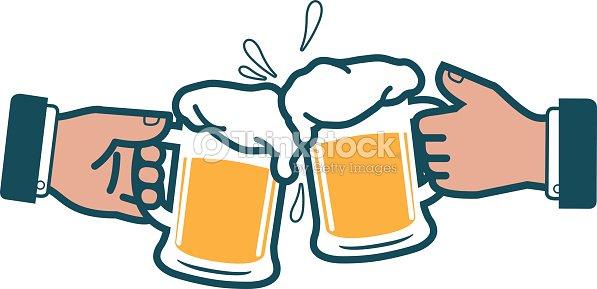 Empresarios Con Cerveza Brindis Arte Vectorial