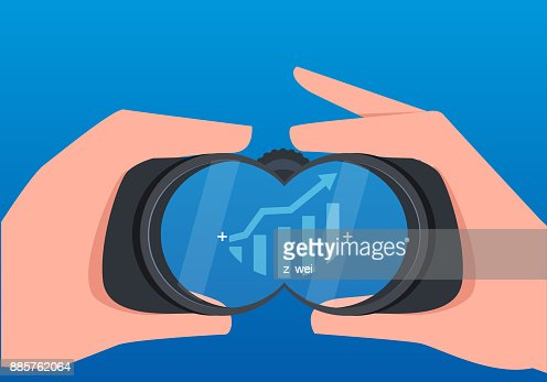 Businessmen use telescopes to observe the growth of business data : stock vector