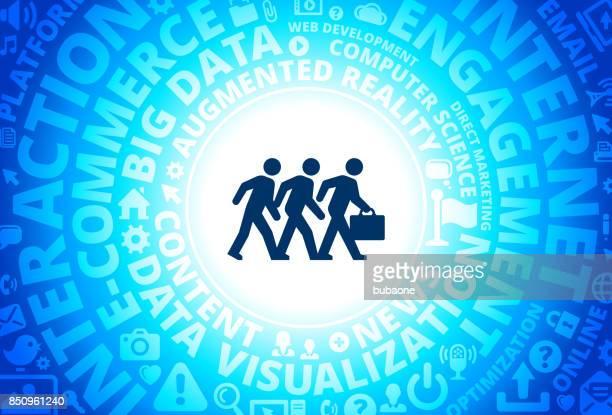 Businessmen Walking Icon on Internet Modern Technology Words Background