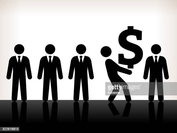 Businessmen with Big Money Black and White Illustration