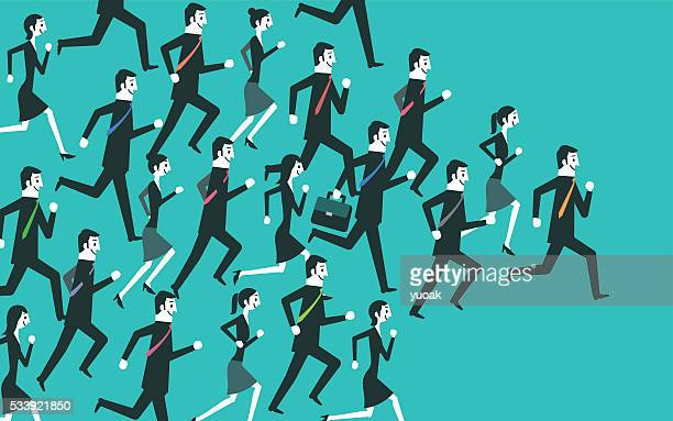 Businesspeople running