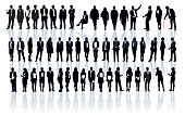 Large set of people silhouettes. Businesspeople; men and women.