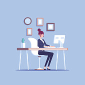Young pleased businesswoman or female clerk sitting at the office desk and working at the computer and looking at screen flat vector illustration. Pleasant and comfortable workplace