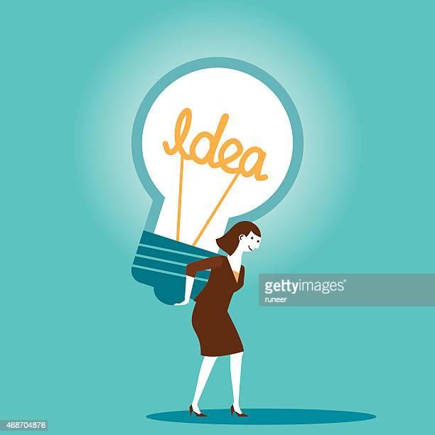 Businesswoman Carries Big Idea | New Business Concept