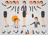 Businesswoman character creation set build your own design cartoon flat-style infographic
