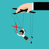 Businesswoman escaping a controlling boss vector illustrator