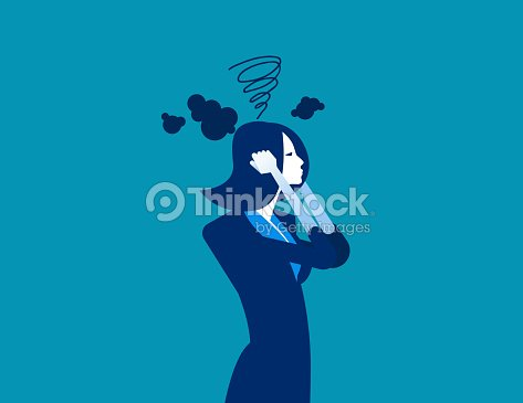 Businesswoman head have smoke. Concept business vector illustration. : stock vector